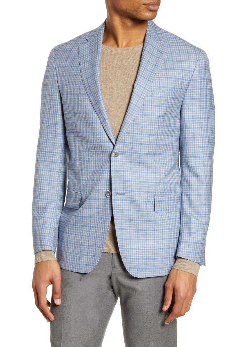 HART SCHAFFNER MARX Classic Fit Check Wool Sport Coat, Main, color, LIGHT BLUE
