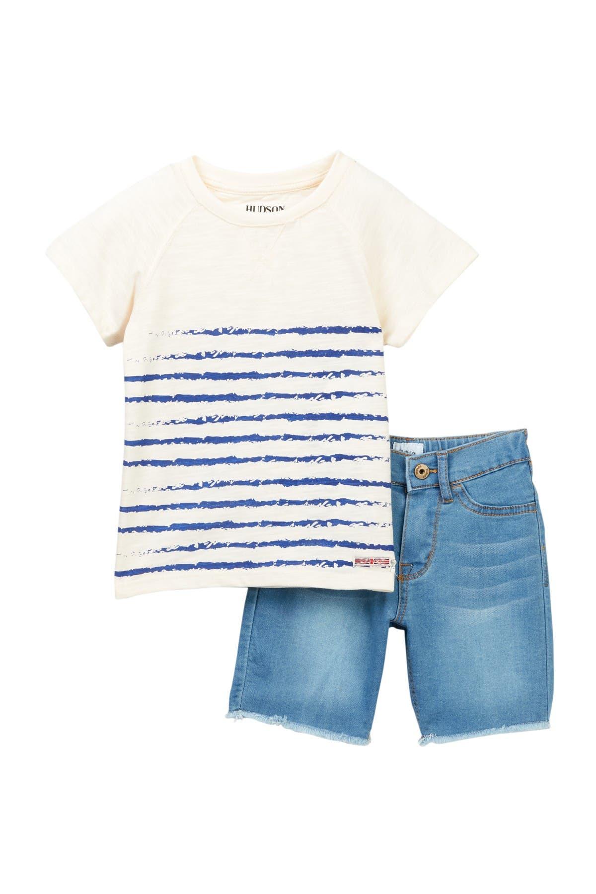 Image of HUDSON Jeans Printed Slub Jersey & Denim Shorts Set