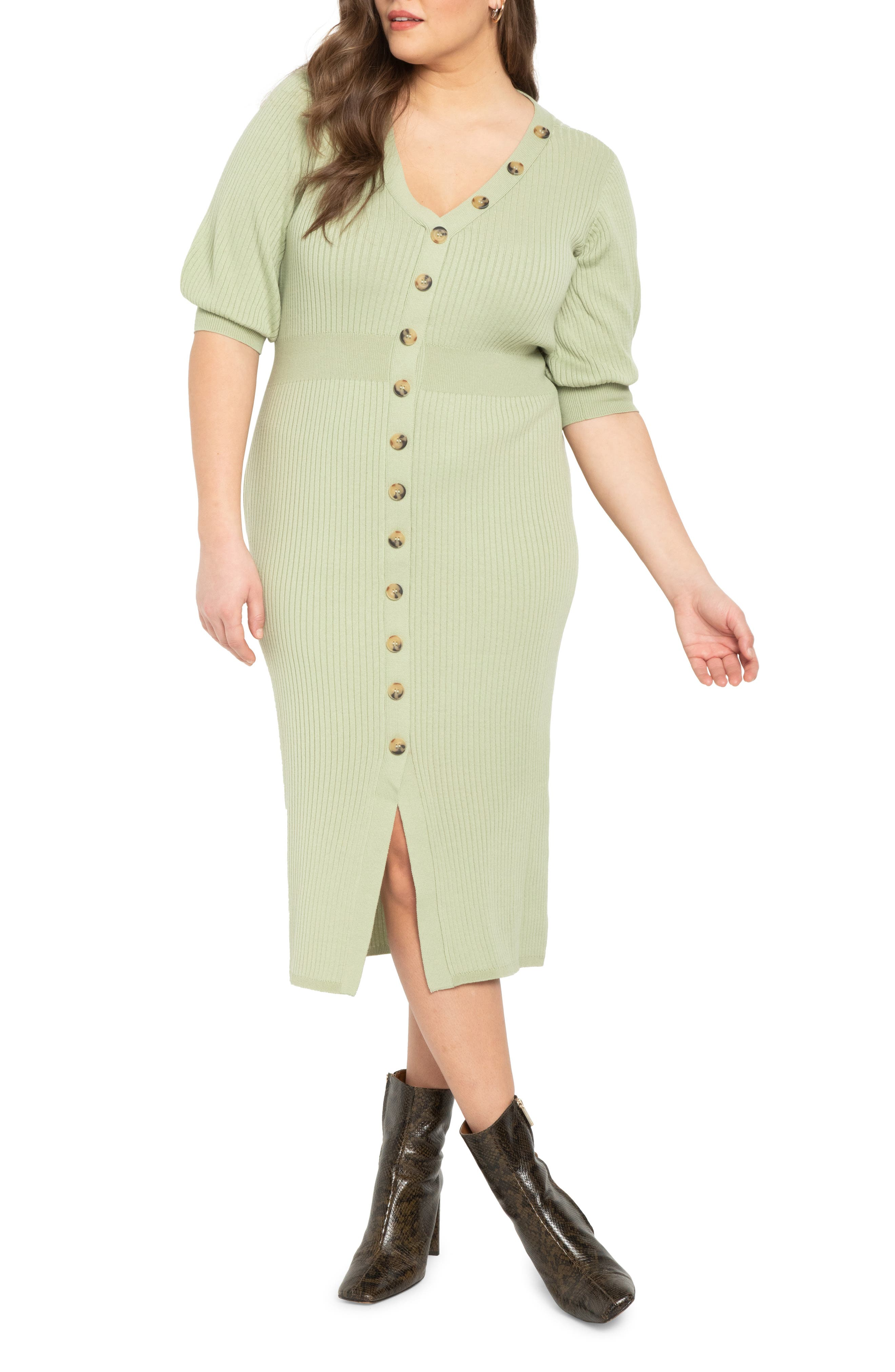 Button Detail Ribbed Midi Dress