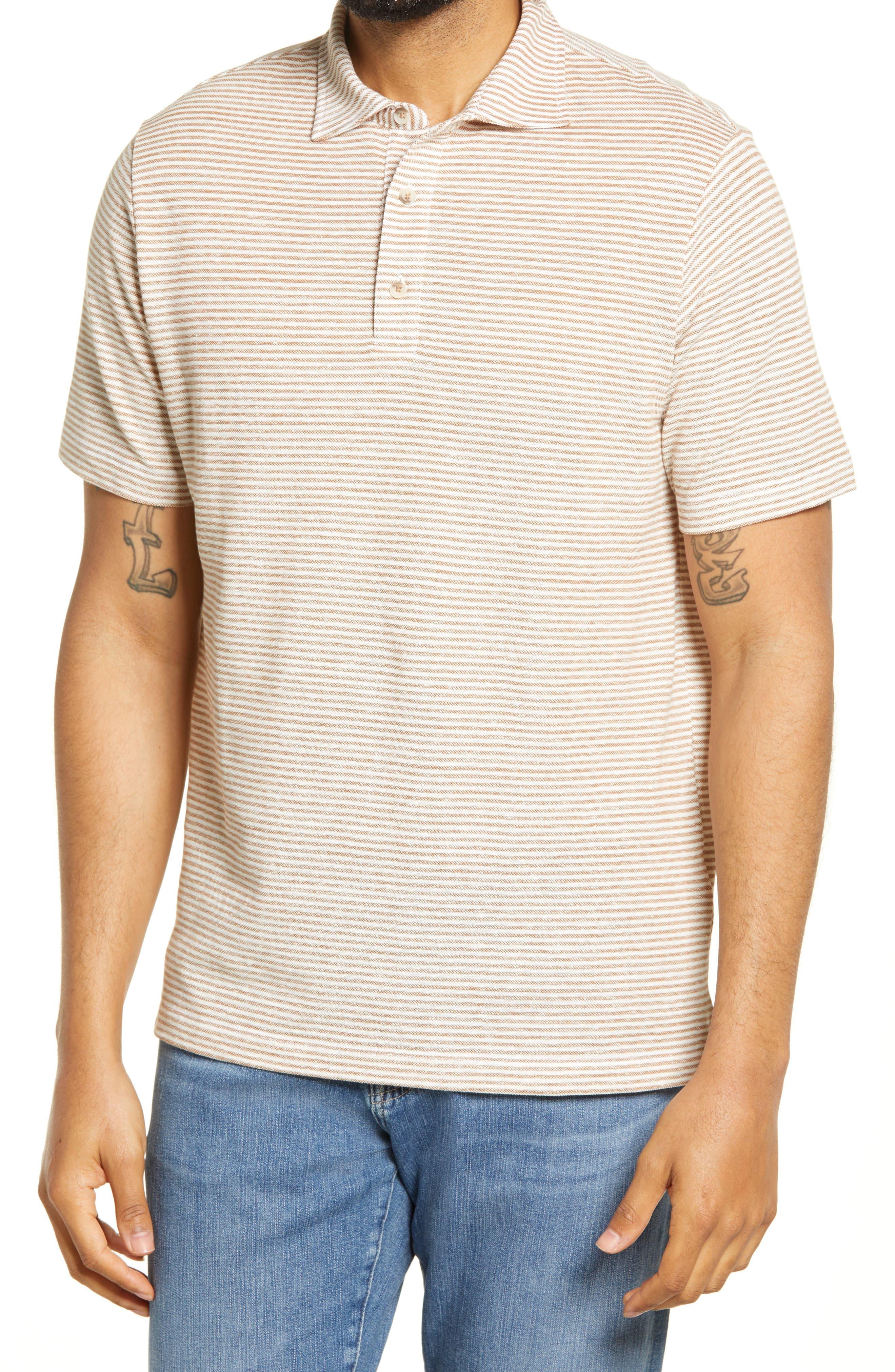 Men's Stripe Pique Linen Blend Polo