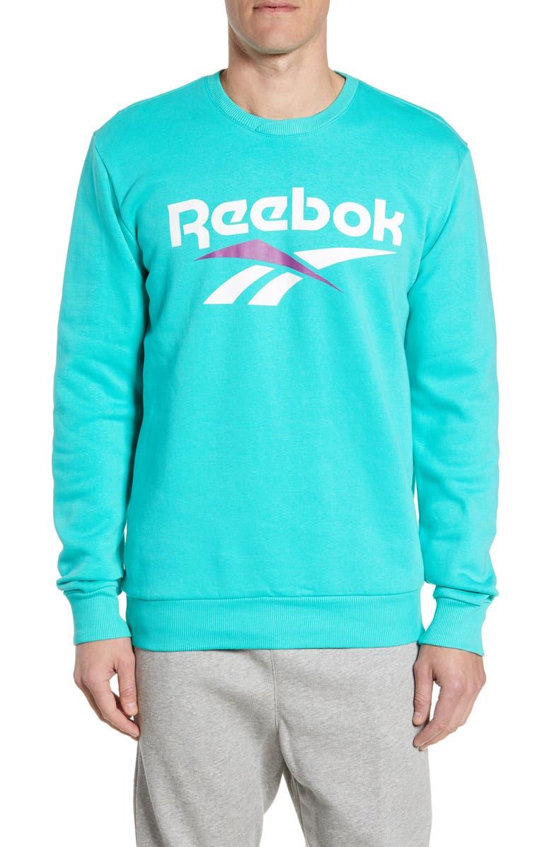 REEBOK Classic Vector Logo Sweatshirt, Main, color, TIMELESS TEAL