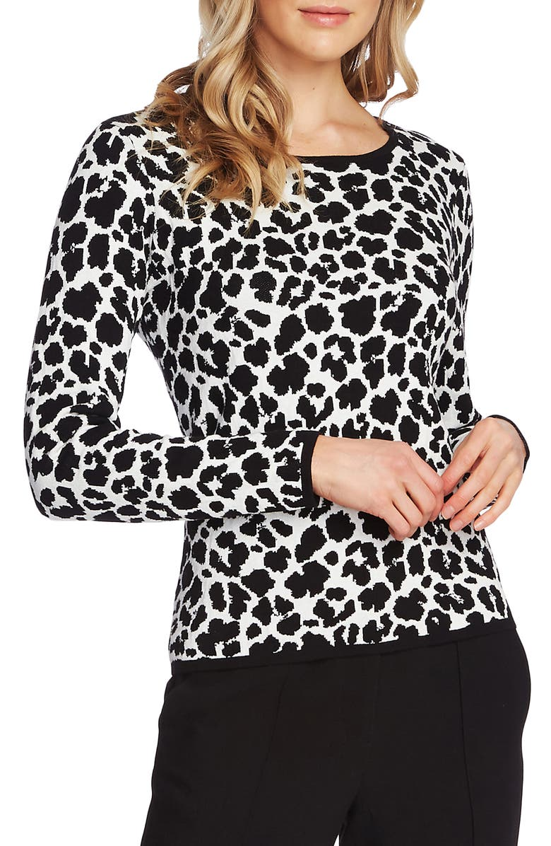 VINCE CAMUTO Animal Jacquard Pullover, Main, color, 108