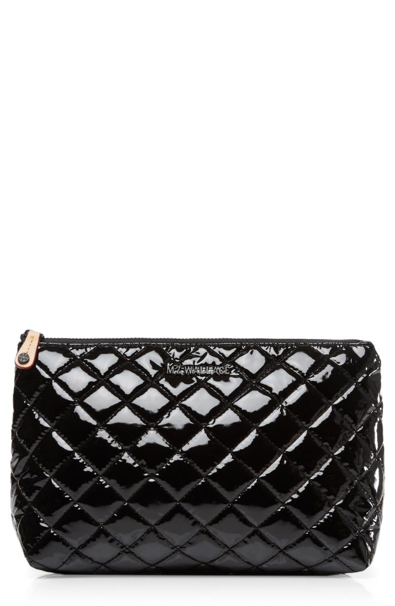 MZ WALLACE Zoey Cosmetics Case, Main, color, BLACK LACQUER