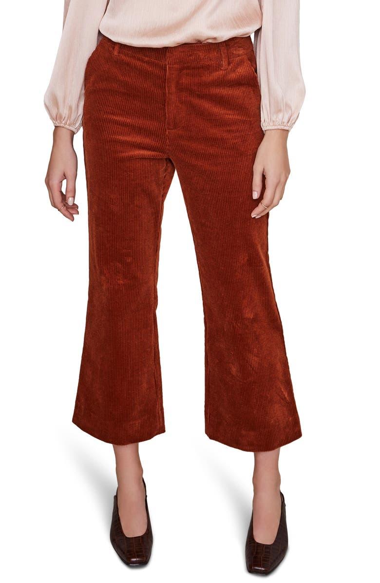 ASTR THE LABEL Jasper Crop Flare Corduroy Pants, Main, color, MAPLE