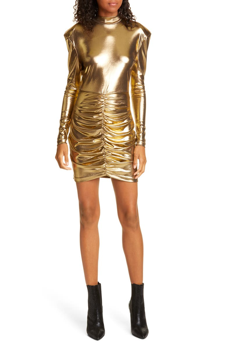ROTATE Minnie Ruched Long Sleeve Body-Con Minidress, Main, color, GOLD