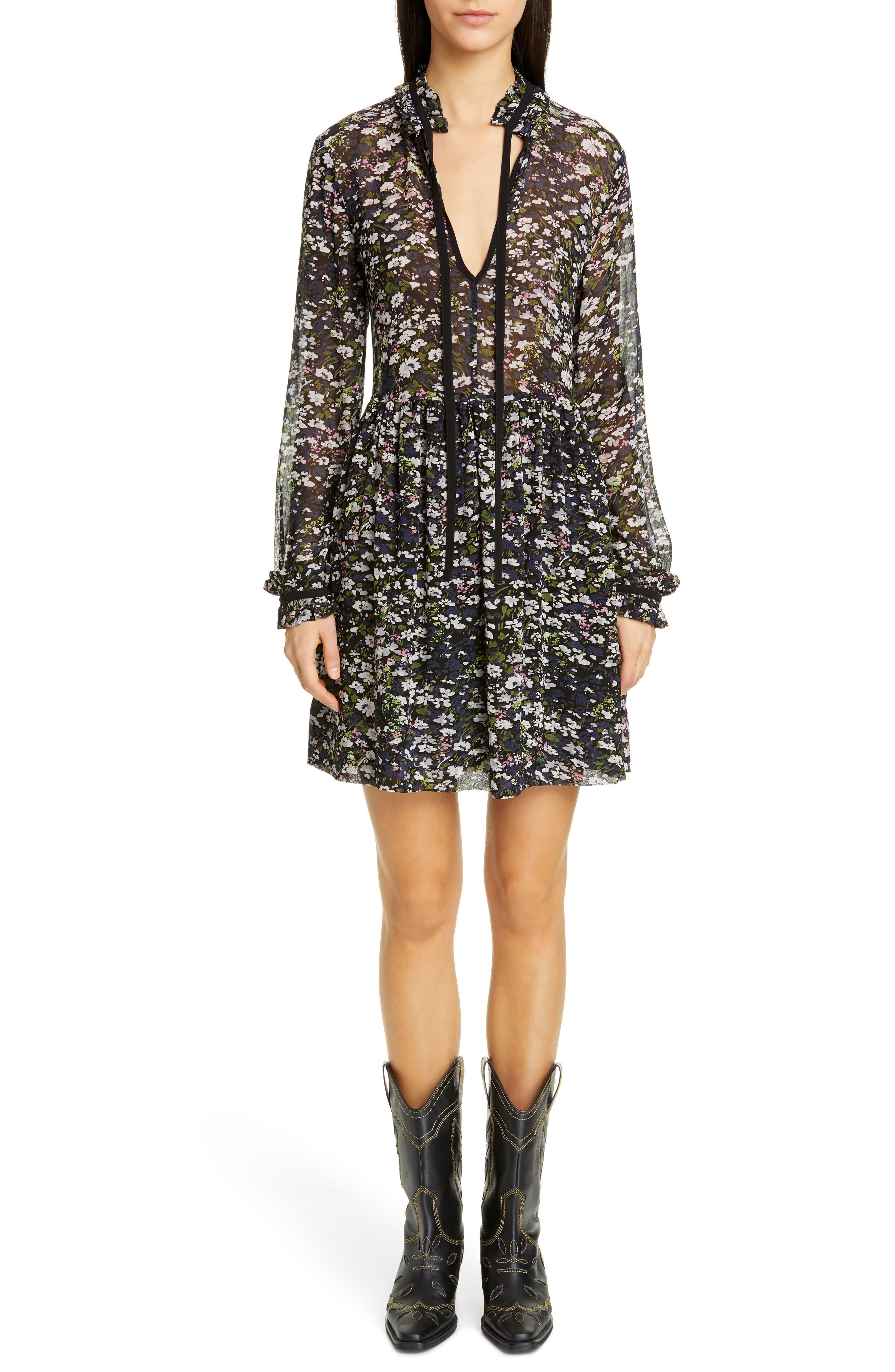 Ganni Long Sleeve Floral Print Georgette Dress, Black