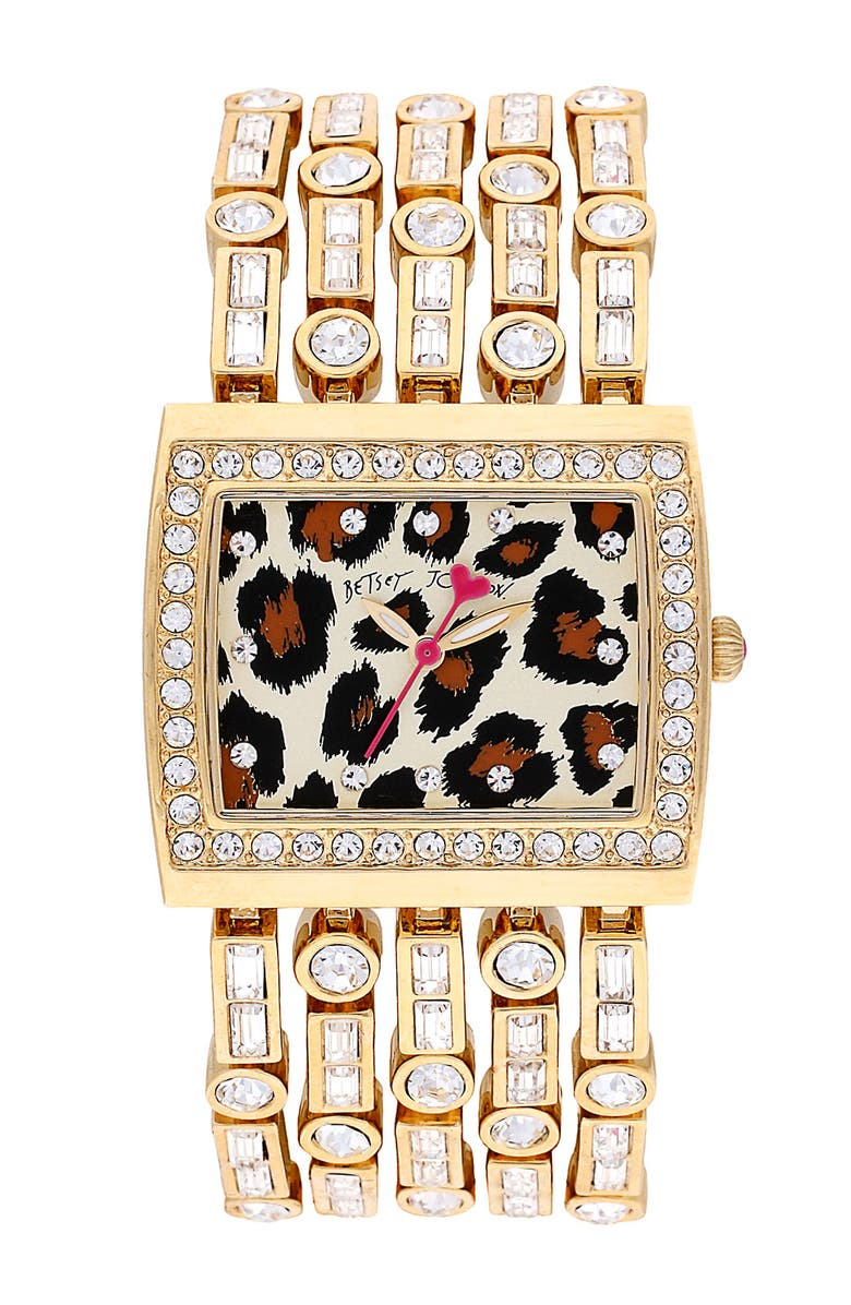 BETSEY JOHNSON Leopard Print Dial Bracelet Watch, Main, color, Gold