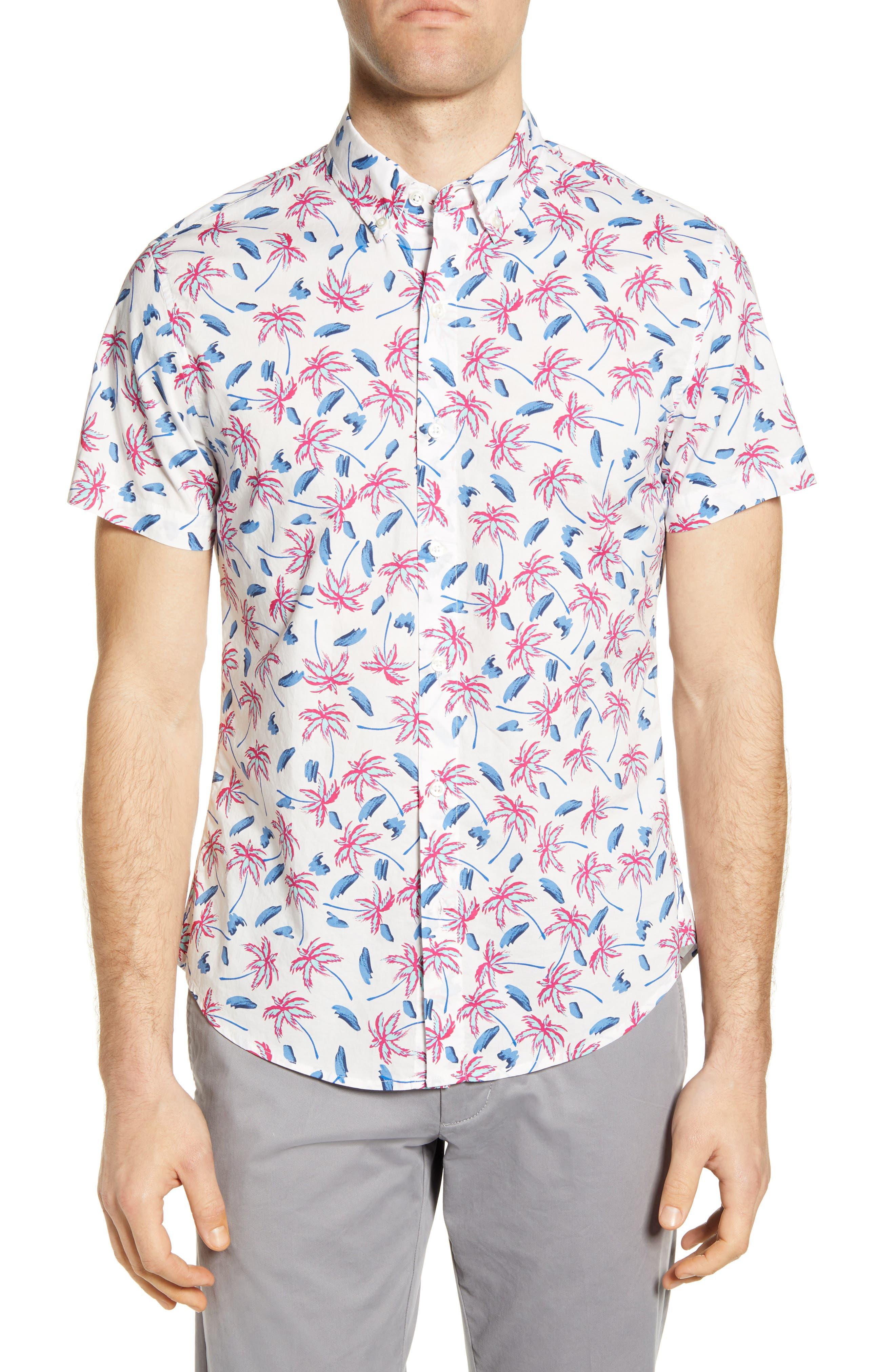 Riviera Slim Fit Tropical Short Sleeve Button-Down Shirt