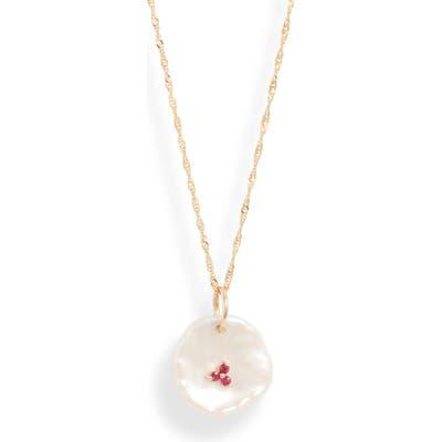 Poppy Finch Petal Pearl & Ruby Pendant Necklace