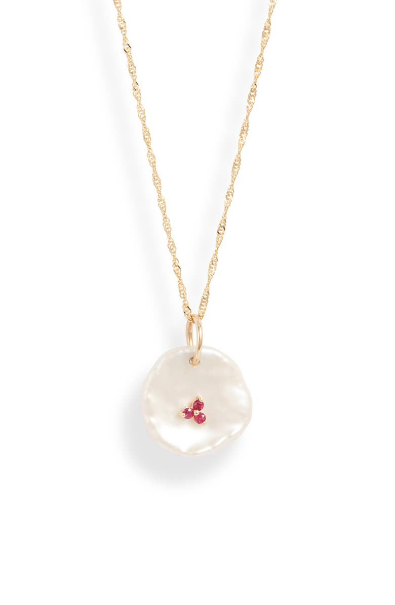 POPPY FINCH Petal Pearl & Ruby Pendant Necklace, Main, color, 710