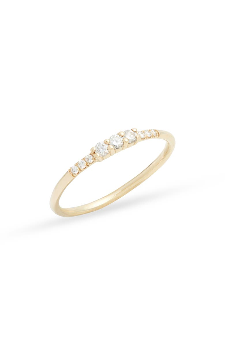 JENNIE KWON DESIGNS Three Diamond Equilibrium Ring, Main, color, YELLOW GOLD/ DIAMOND