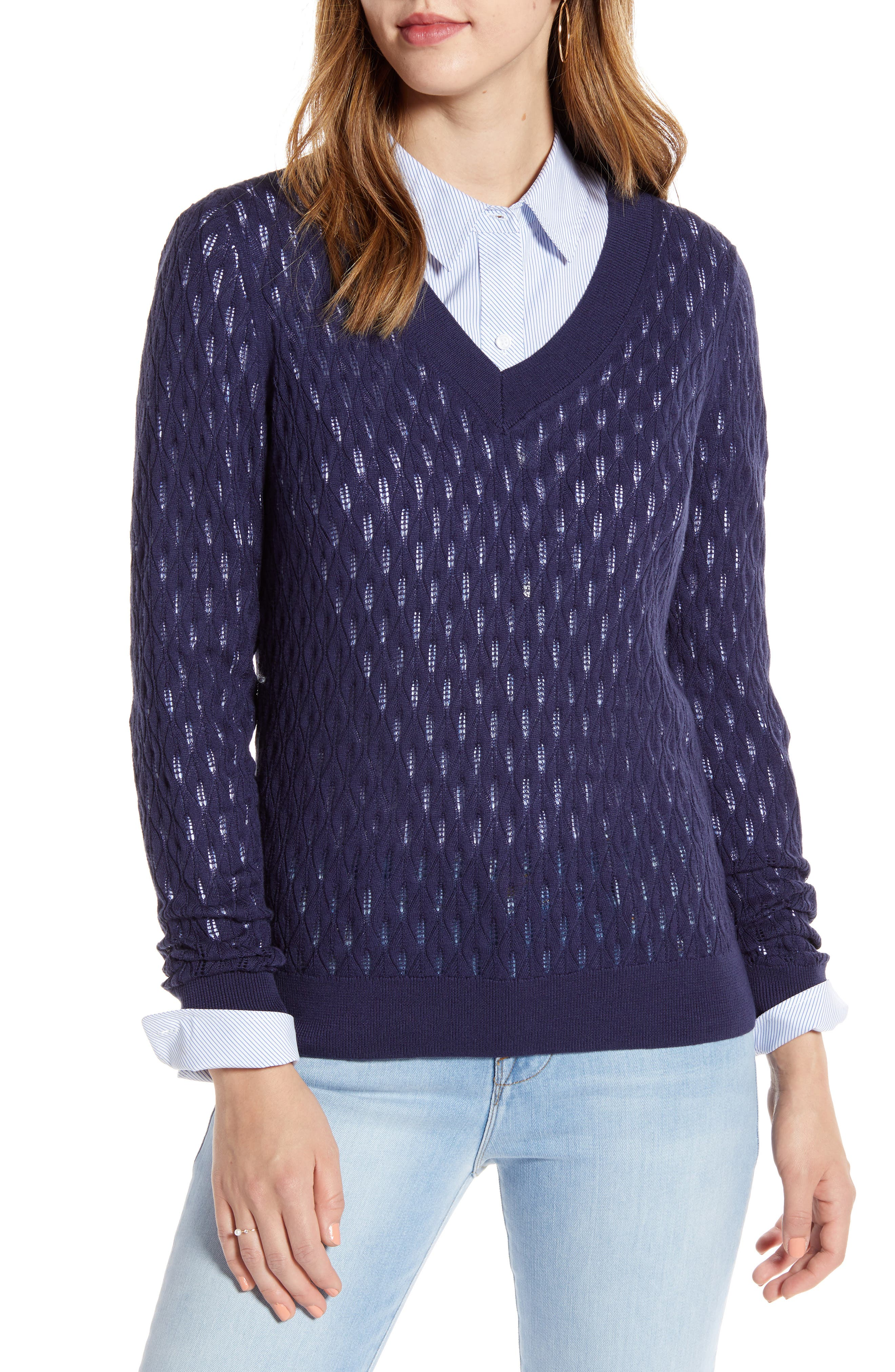 1901 V-Neck Pointelle Sweater, Blue