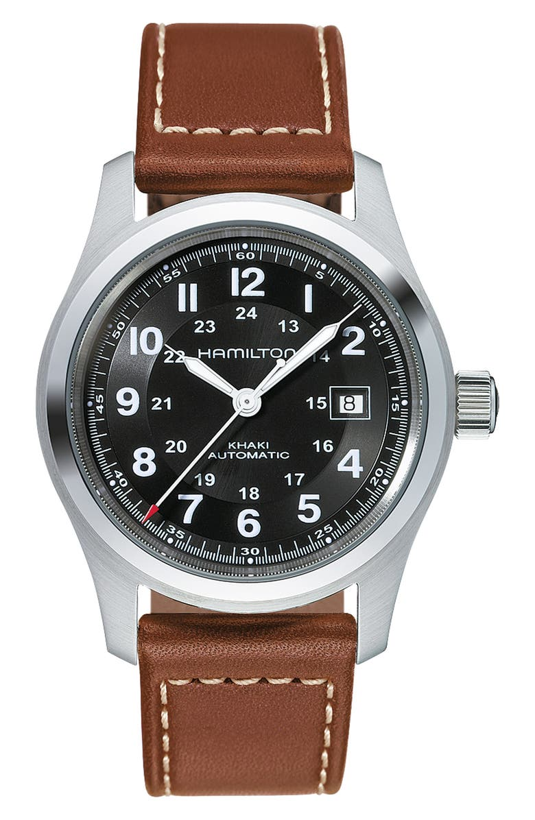 HAMILTON Khaki Field Automatic Leather Strap Watch, 42mm, Main, color, BROWN/ BLACK/ SILVER