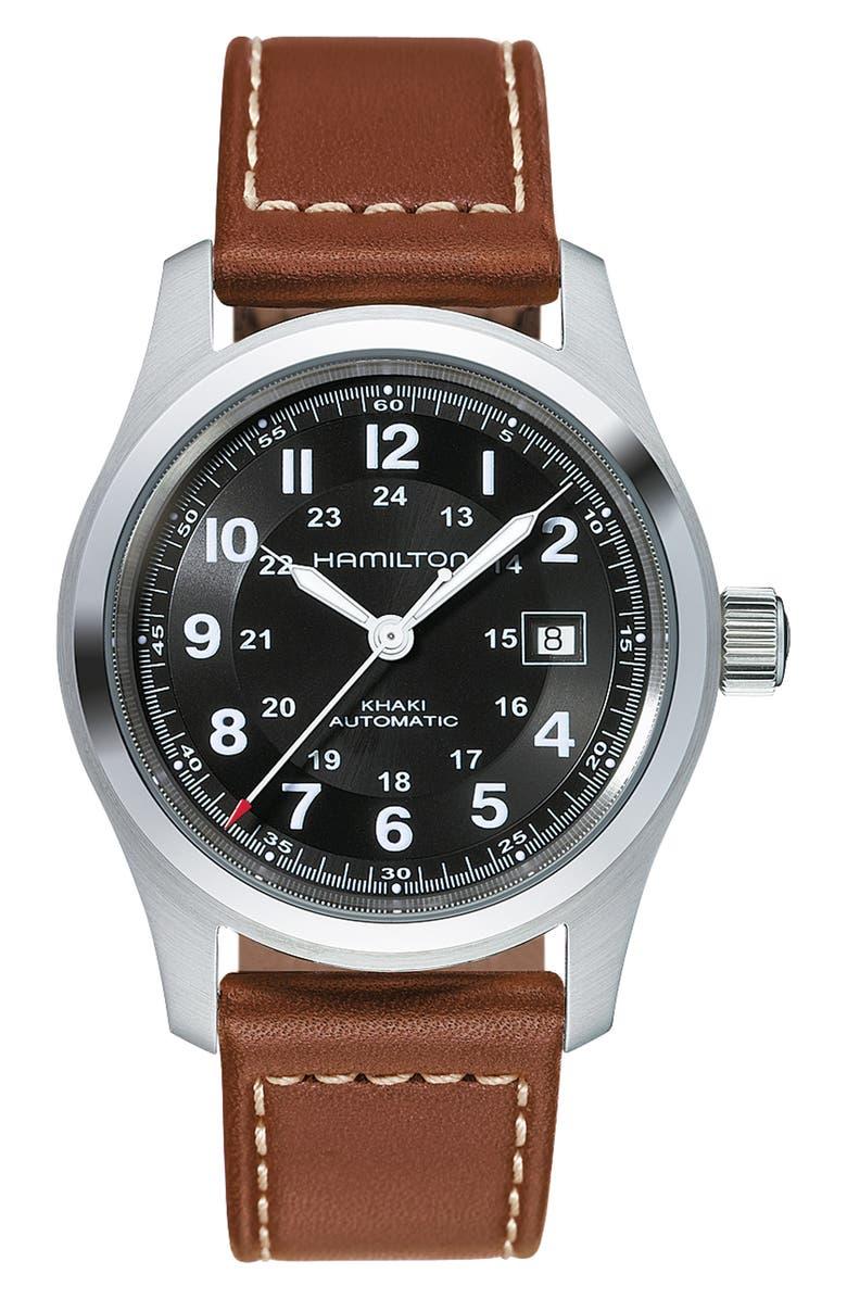 HAMILTON Khaki Field Automatic Leather Strap Watch, 42mm, Main, color, BROWN/ BLACK/ SILVER