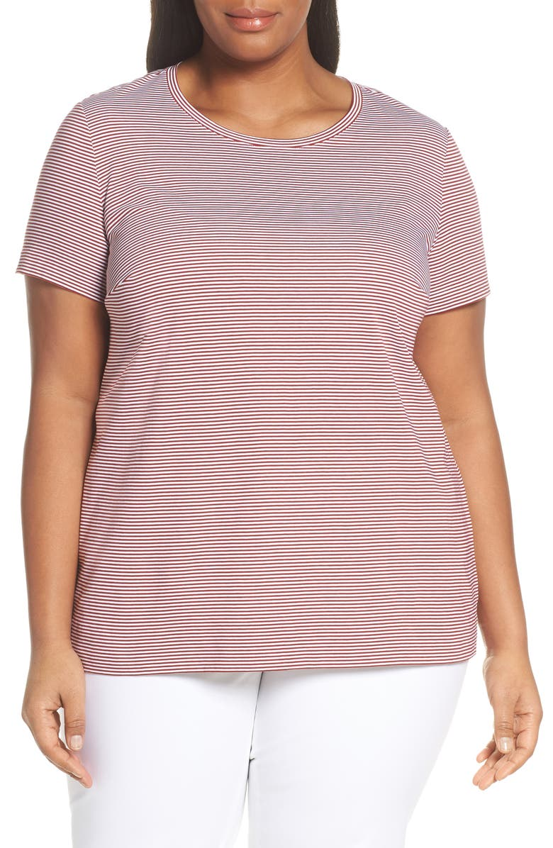 LAFAYETTE 148 NEW YORK Kim Stripe Tee, Main, color, POPPY/ WHITE