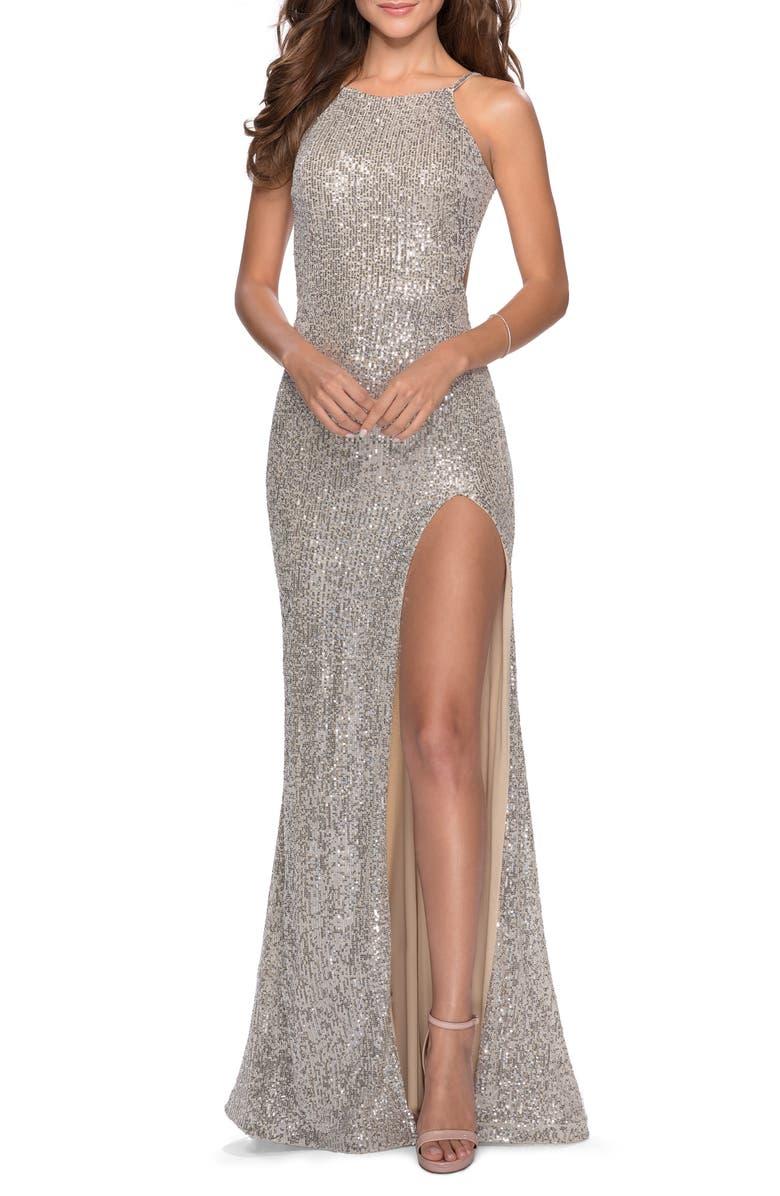 LA FEMME Sequin Open Back Trumpet Gown, Main, color, SILVER