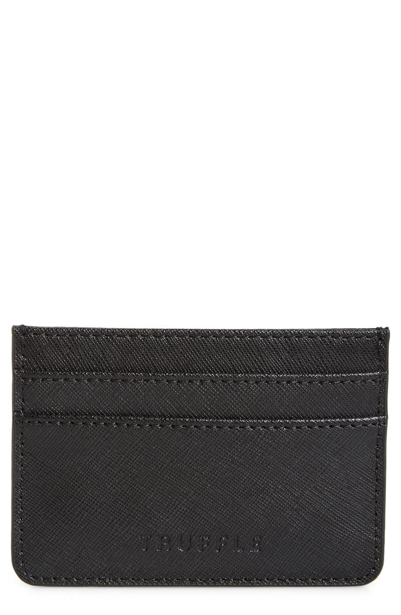 TRUFFLE Privacy Leather Card Case, Main, color, BLACK