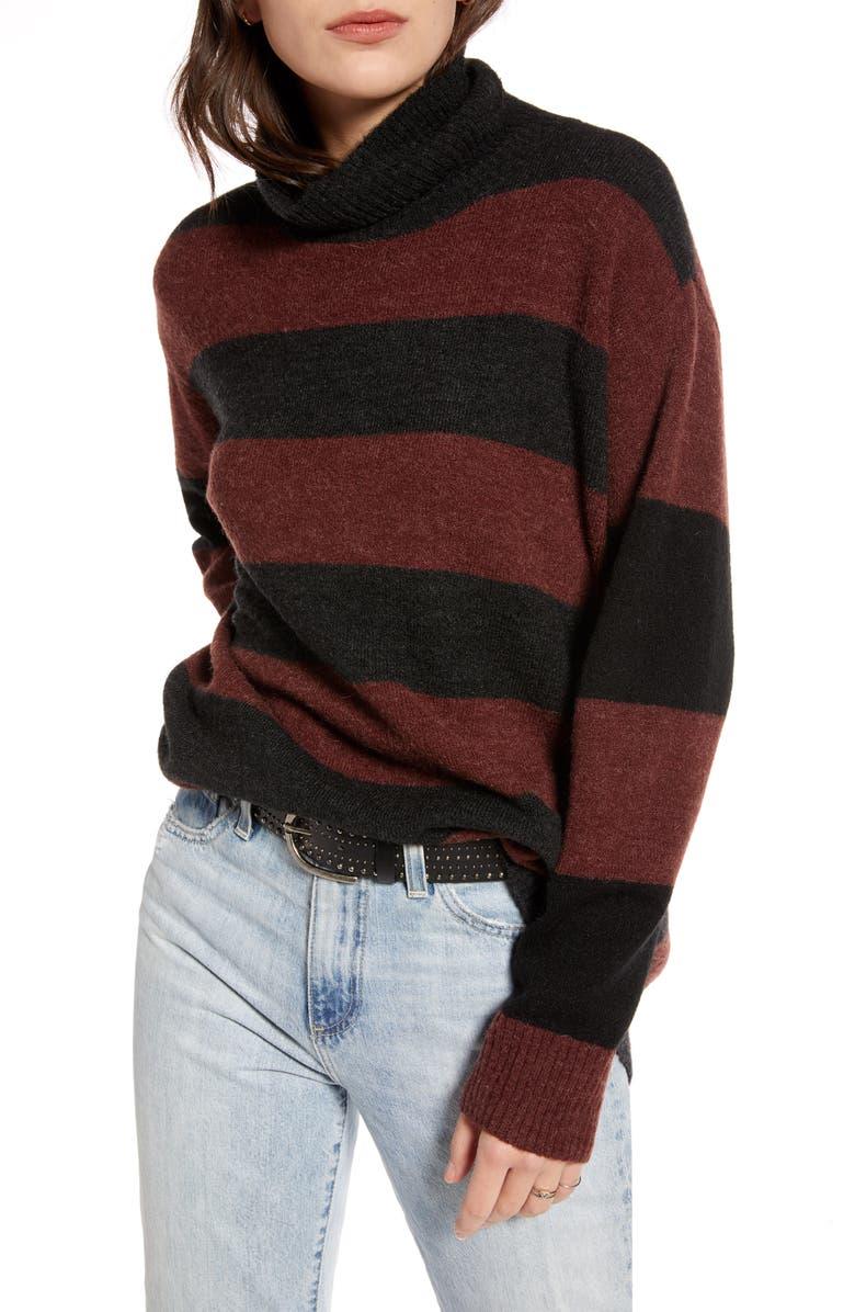 TREASURE & BOND Wide Stripe Tunic Sweater, Main, color, BURGUNDY SASS- GREY COMBO