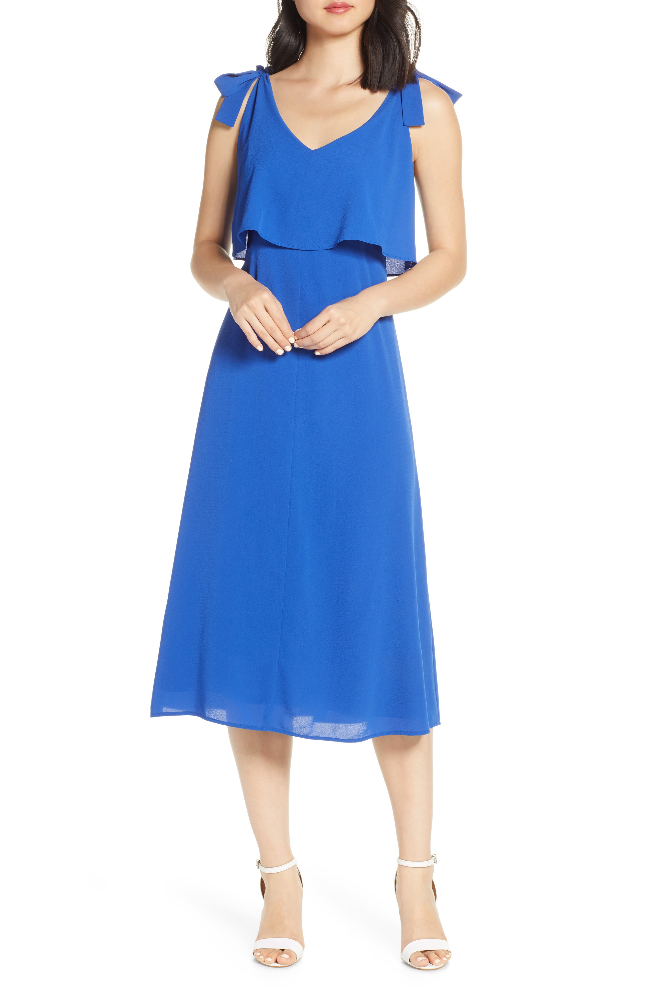 Charles Henry Tie Shoulder Popover Midi Dress, Blue