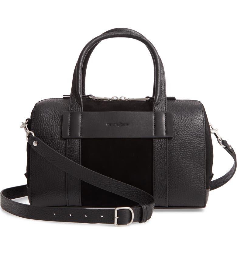 TREASURE & BOND Eastyn Leather Satchel, Main, color, BLACK
