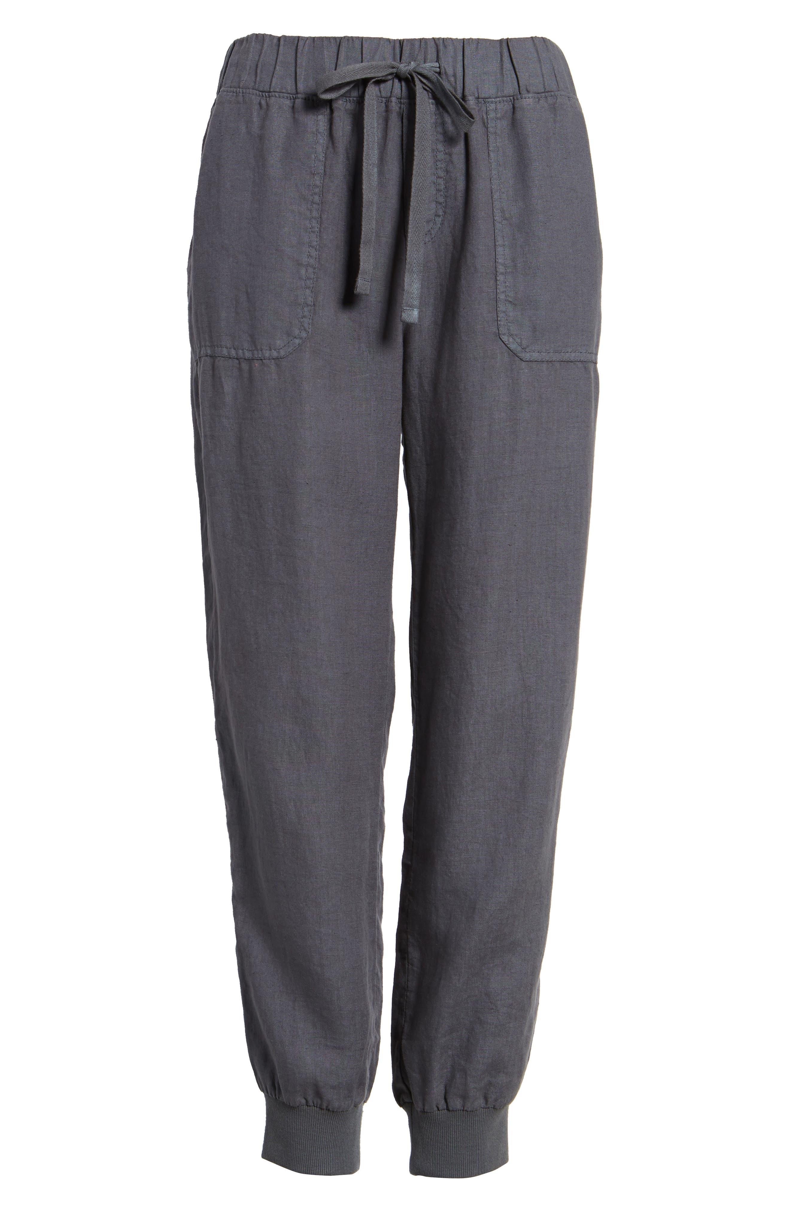 ,                             Linen Jogger Pants,                             Alternate thumbnail 7, color,                             GREY EBONY