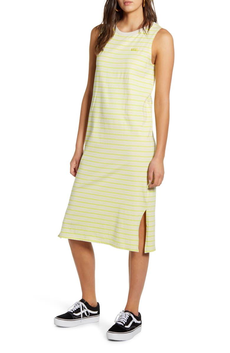 VANS Stripe Sleeveless Midi Tank Dress, Main, color, LEMON TONIC