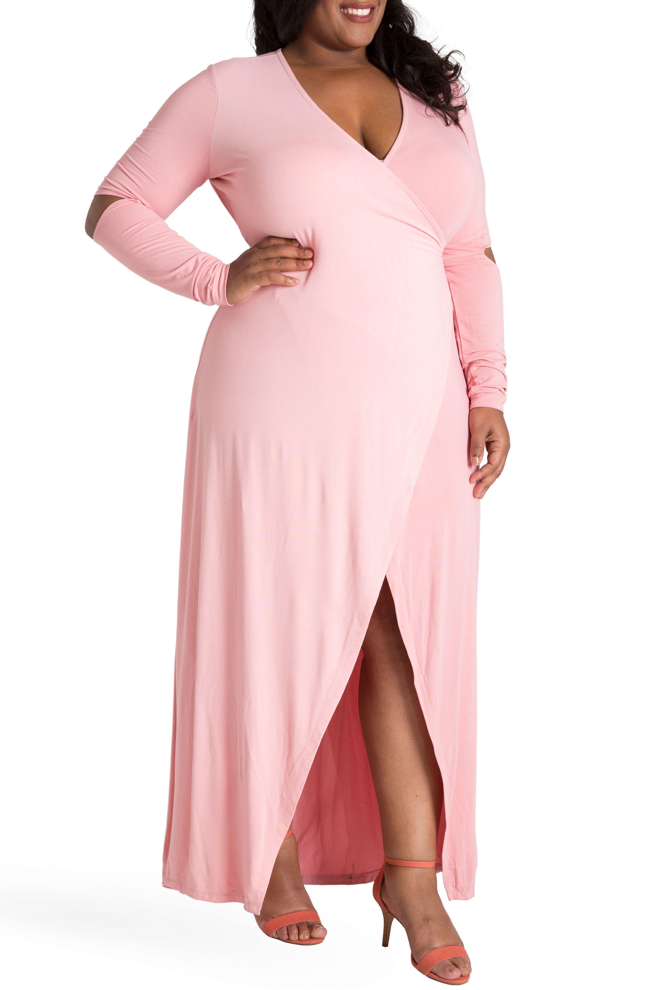 ,                             Rosa Maxi Wrap Dress,                             Alternate thumbnail 3, color,                             PINK