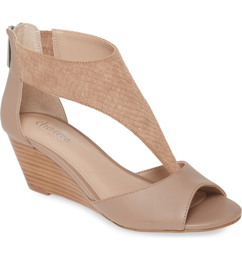 CHARLES BY CHARLES DAVID Gallo T-Strap Wedge Sandal, Main, color, LATTE