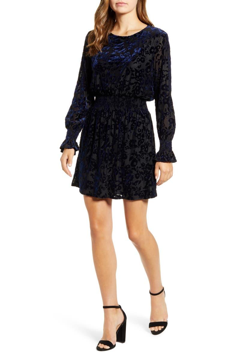 GIBSON x Glam Tara Gibson Flocked Velvet Long Sleeve Date Dress, Main, color, 407