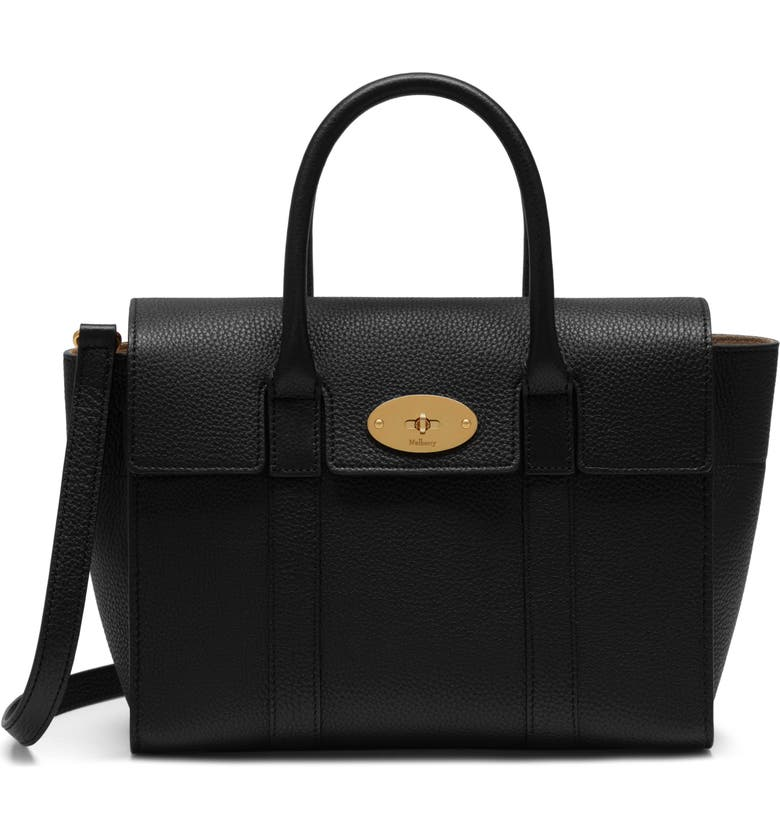 MULBERRY Small Bayswater Leather Satchel, Main, color, BLACK