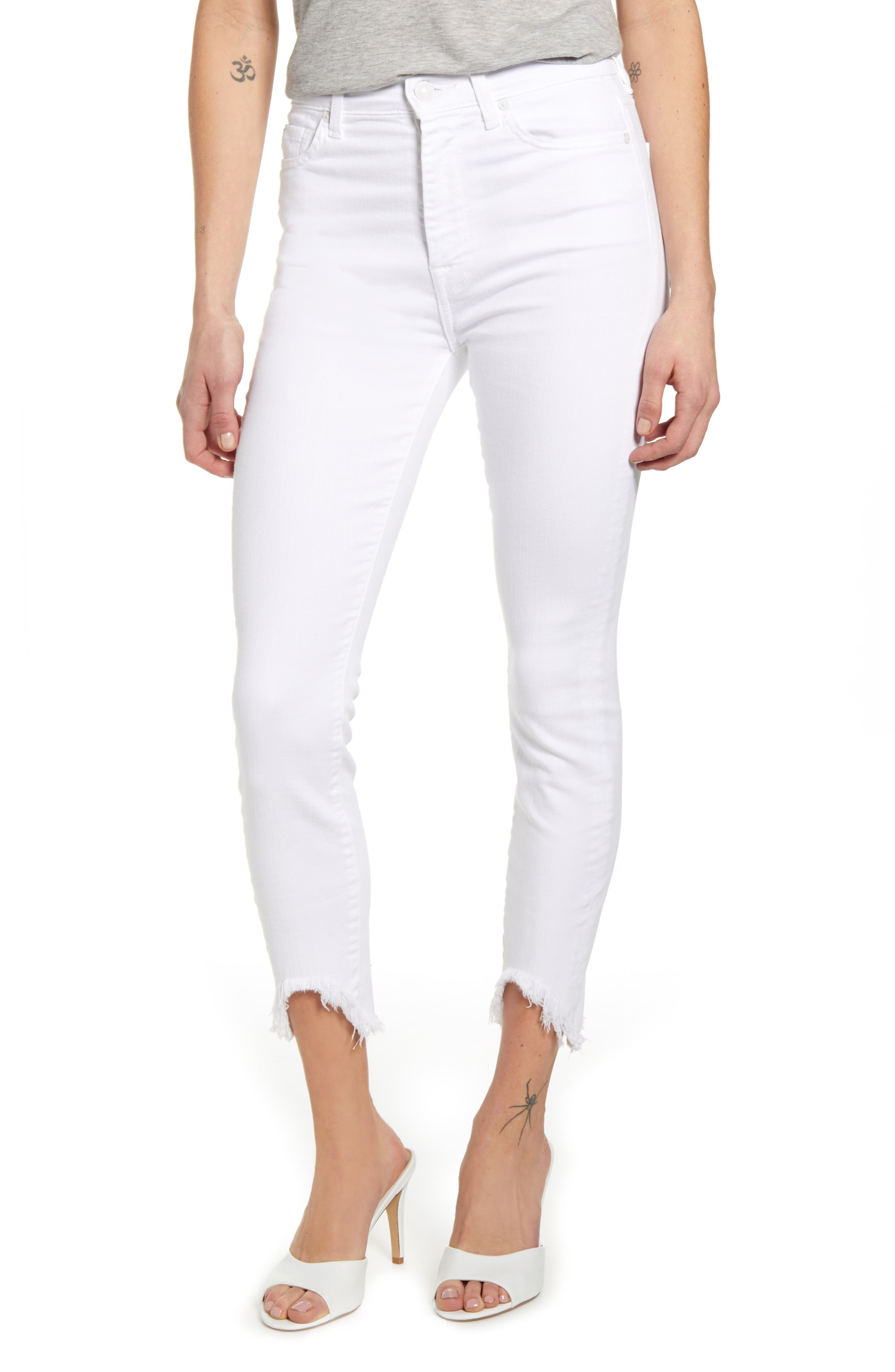 7 For All MankindR Women's 7 For All Mankind Fray Hem Ankle Skinny Jeans,  31 - White