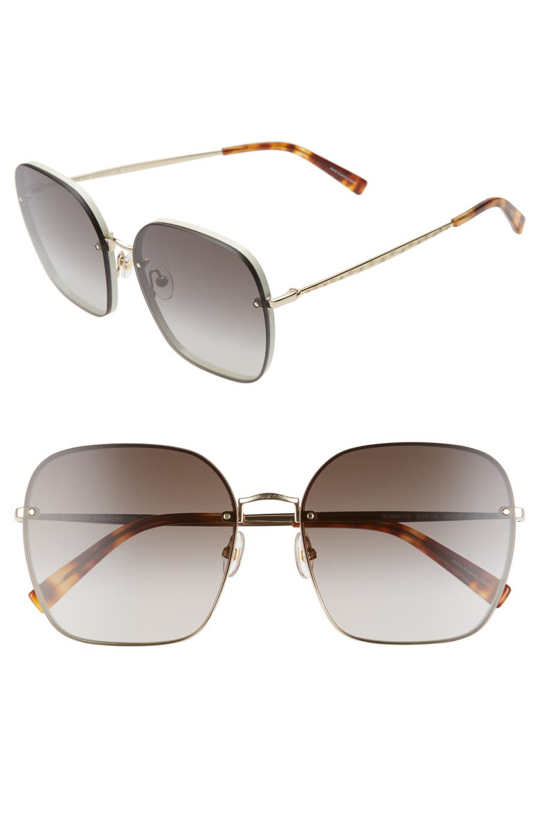 REBECCA MINKOFF Gloria3 60mm Square Sunglasses, Main, color, CREAM/ BROWN/ GOLD
