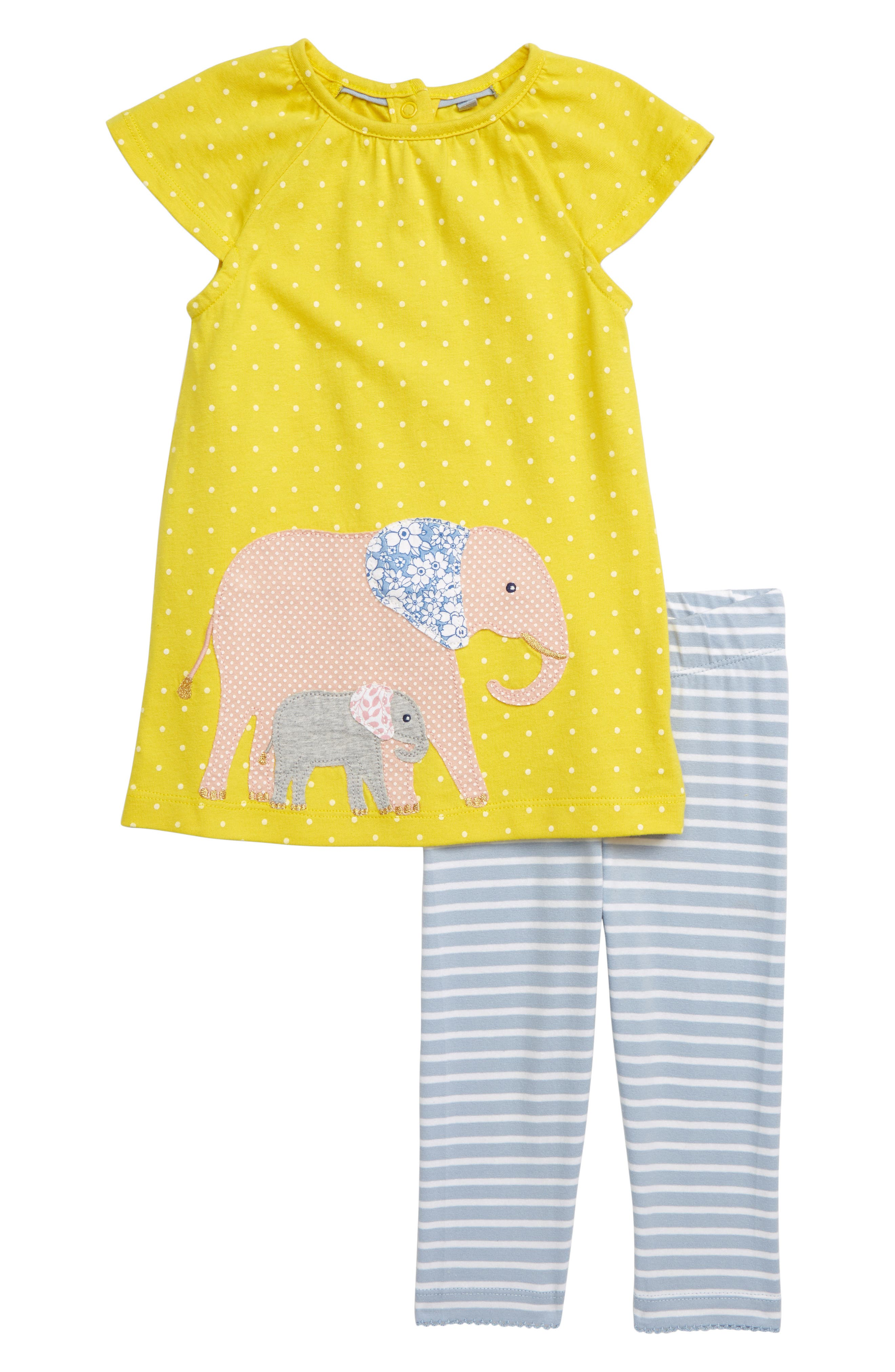 Toddler Girls Mini Boden Elephant Applique Dress  Leggings Set (Baby  Toddler Girls)