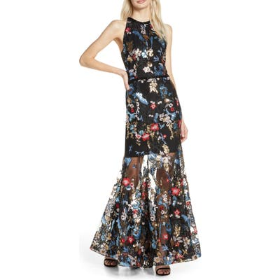 Bronx And Banco Paradise Sequin Lace Trumpet Gown, Black