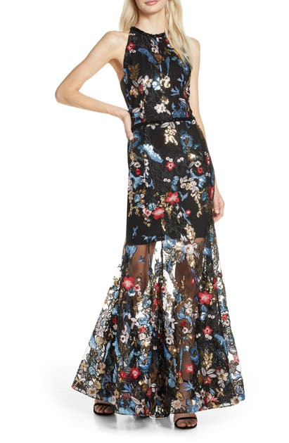 Bronx And Banco Tops PARADISE SEQUIN LACE TRUMPET GOWN