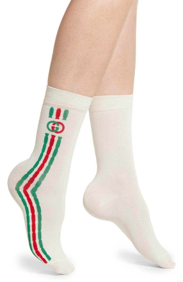 GUCCI Mini Trilly Tennis Socks, Main, color, IVORY/ DARK GREEN
