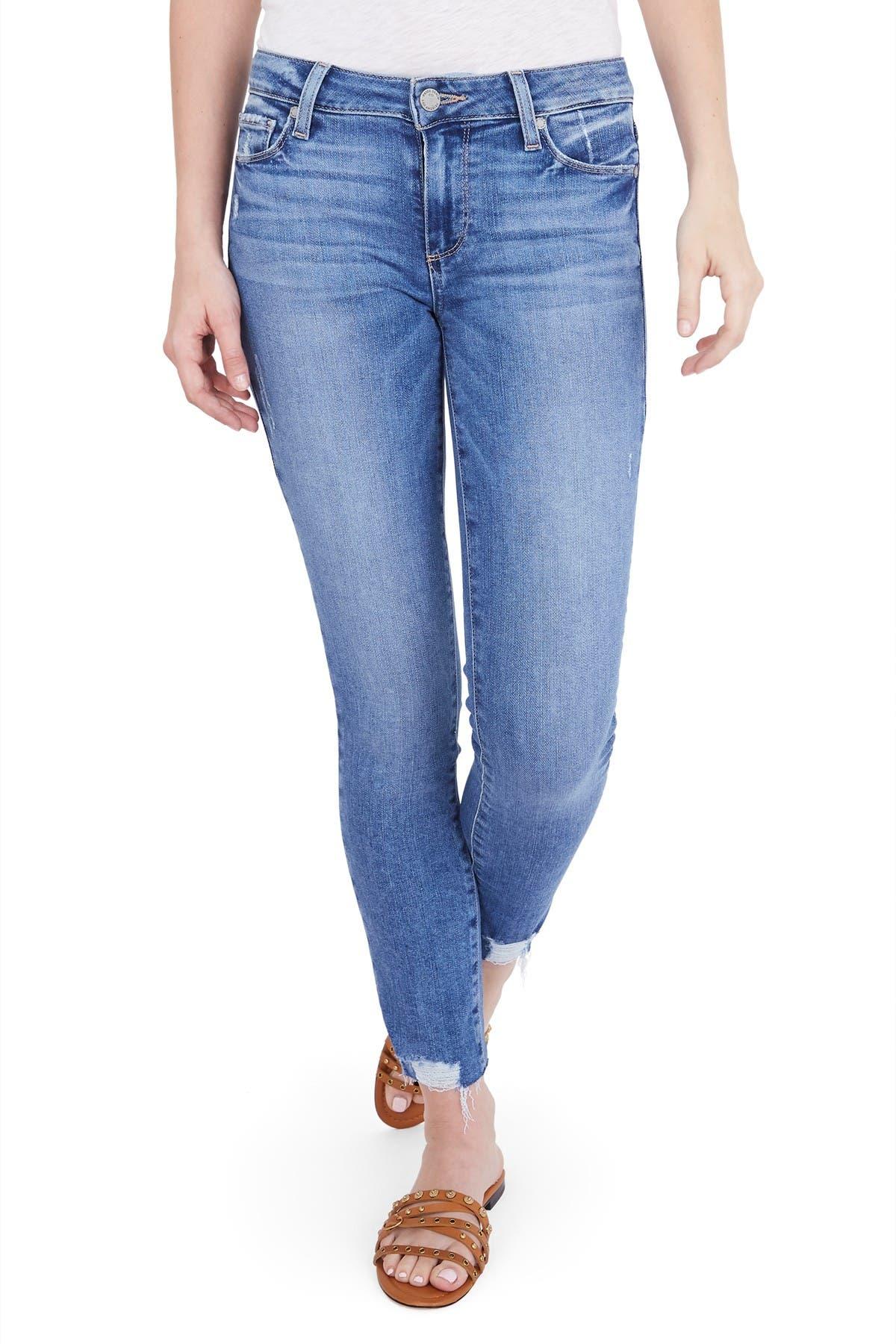 Image of PAIGE Verdugo Distressed Ankle Skinny Jeans