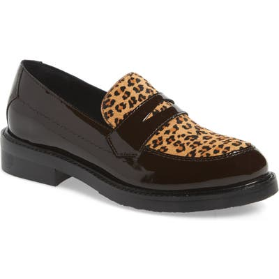 Jeffrey Campbell Hendry Genuine Calf Hair Penny Loafer, Brown