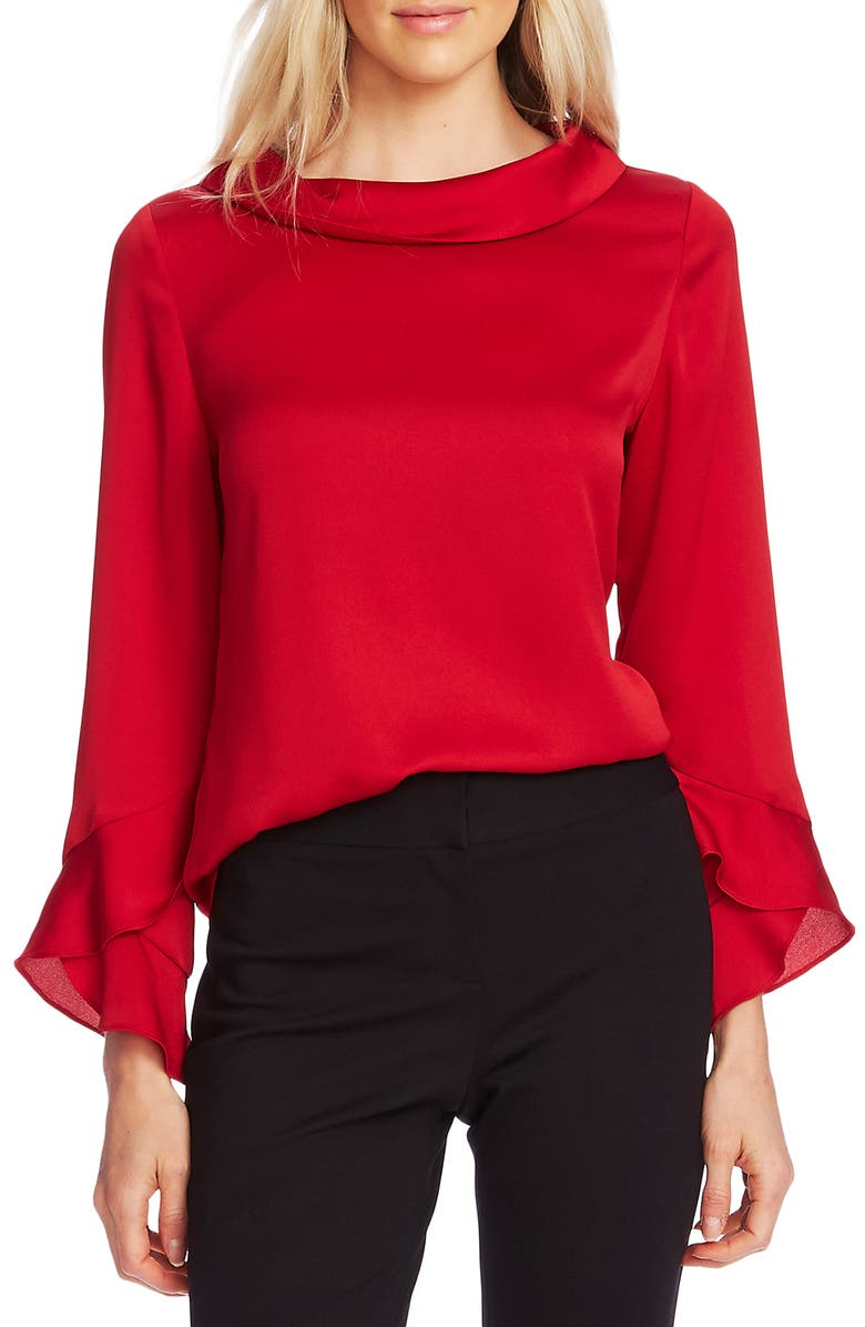 VINCE CAMUTO Bell Sleeve Blouse, Main, color, TULIP RED