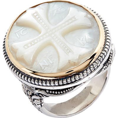 Konstantino Trillion Embossed Cross Mother-Of-Pearl Ring