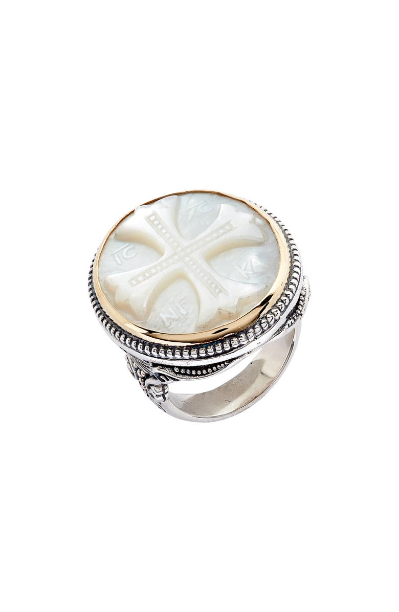 KONSTANTINO Trillion Embossed Cross Mother-of-Pearl Ring, Main, color, SILVER/ GOLD/ MOTHER OF PEARL