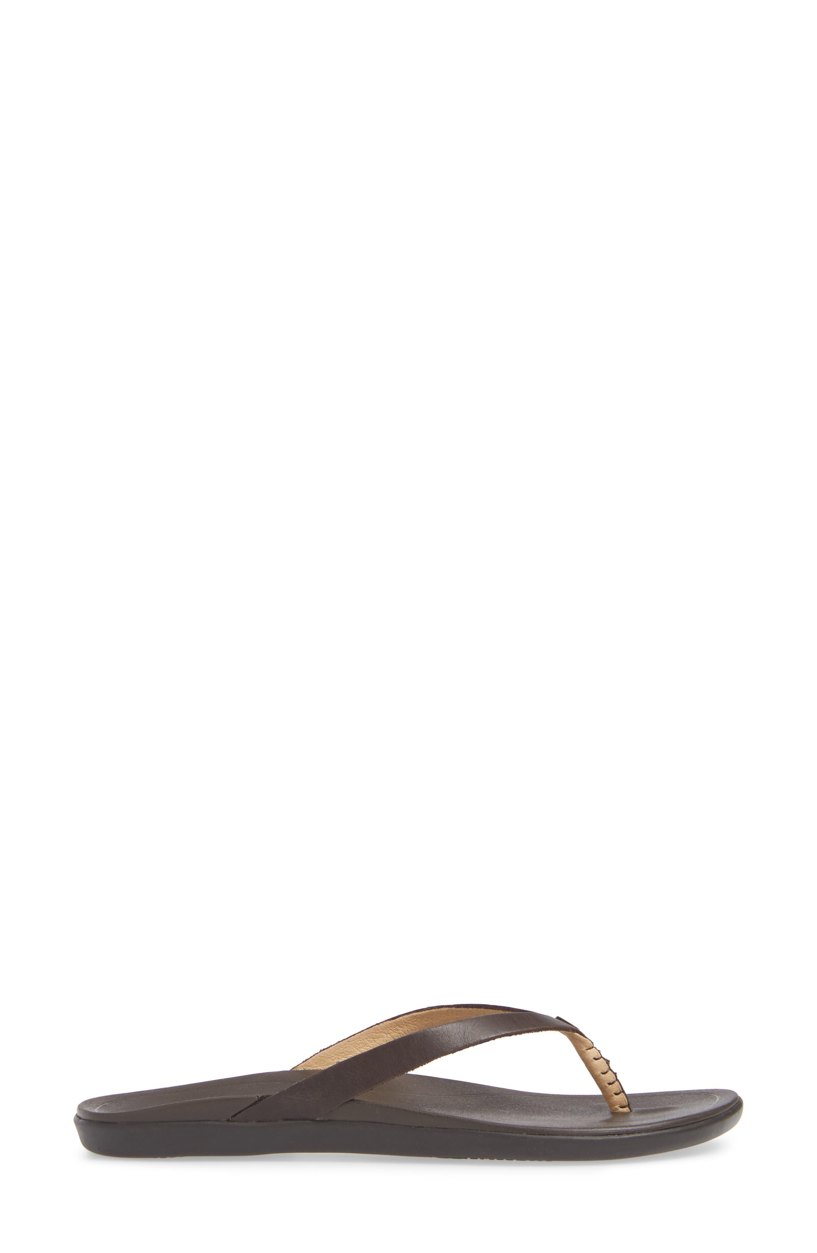 ,                             'Ho Opio' Leather Flip Flop,                             Alternate thumbnail 3, color,                             DARK JAVA/ DARK JAVA LEATHER