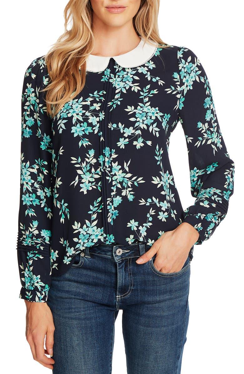 CECE Breezy Bouquet Collar Blouse, Main, color, NIGHT SHADE