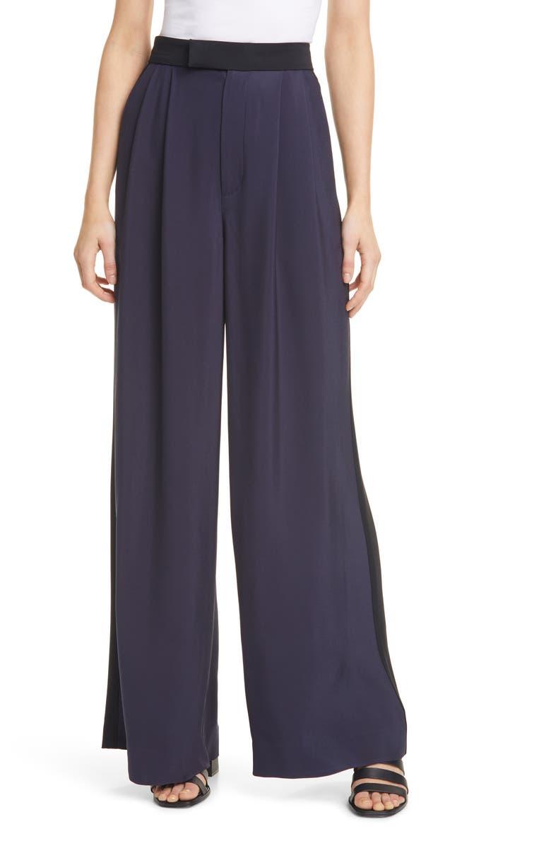 LA LIGNE Tuxedo Stripe Wide Leg Trousers, Main, color, 400