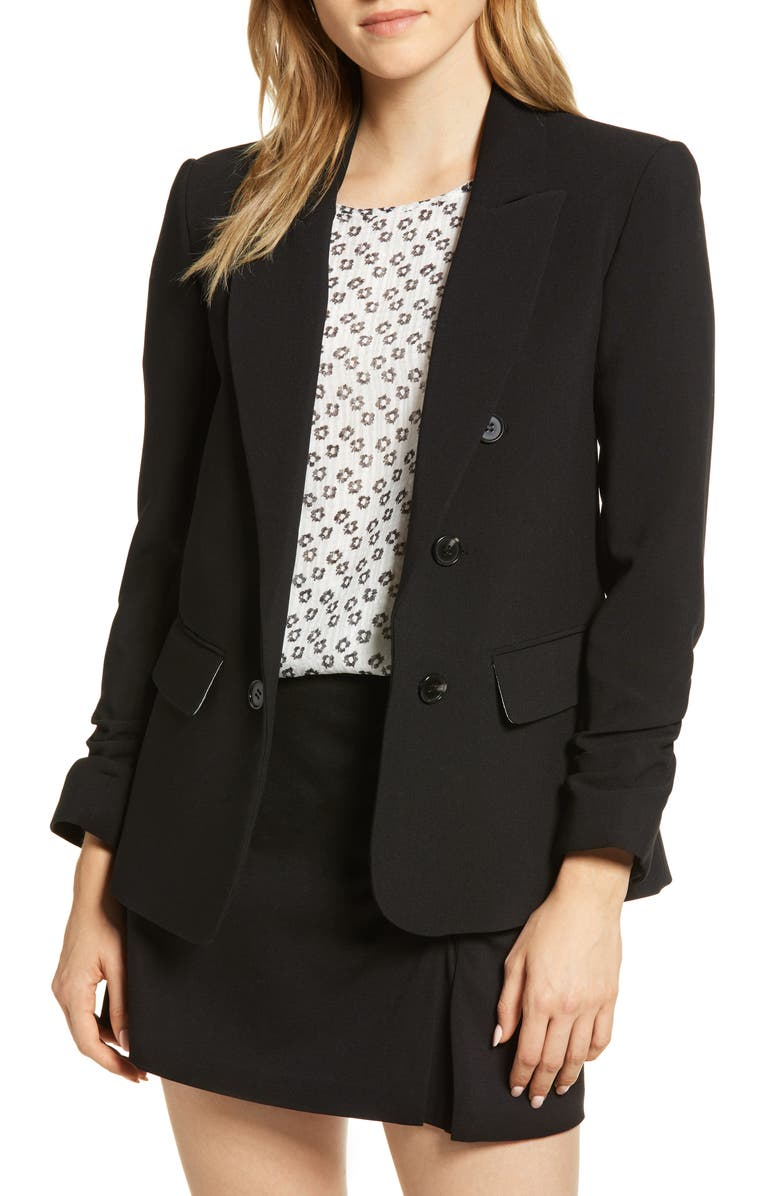 1.STATE Ruched Sleeve Stretch Crepe Blazer, Main, color, RICH BLACK