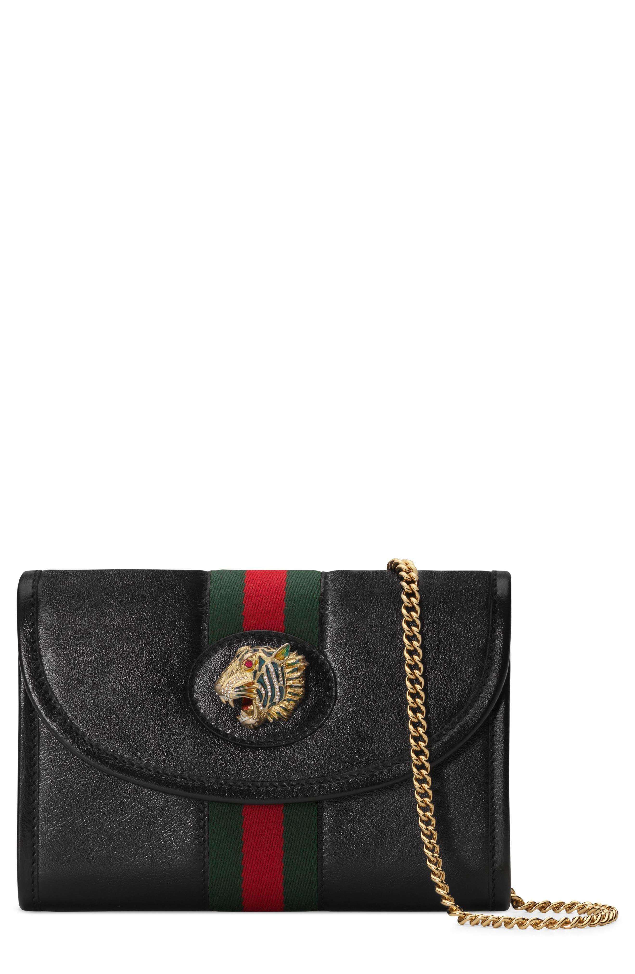 Mini Rajah Leather Crossbody Bag, Main, color, NERO/ VERT RED MULTI
