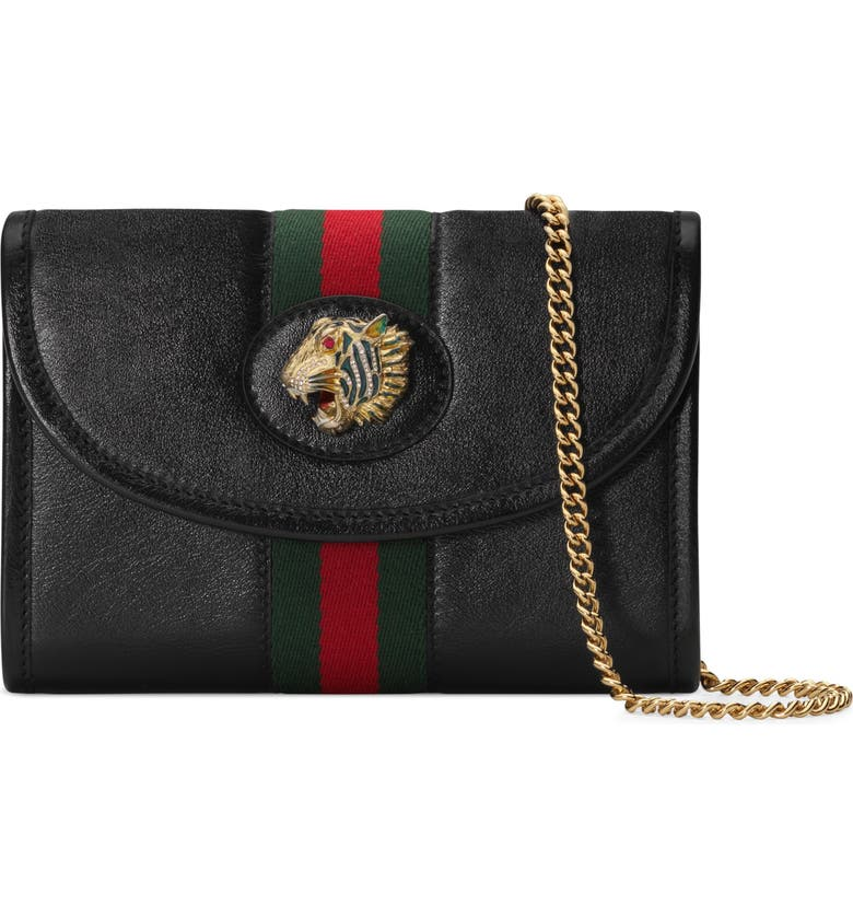 GUCCI Mini Rajah Leather Crossbody Bag, Main, color, NERO/ VERT RED MULTI