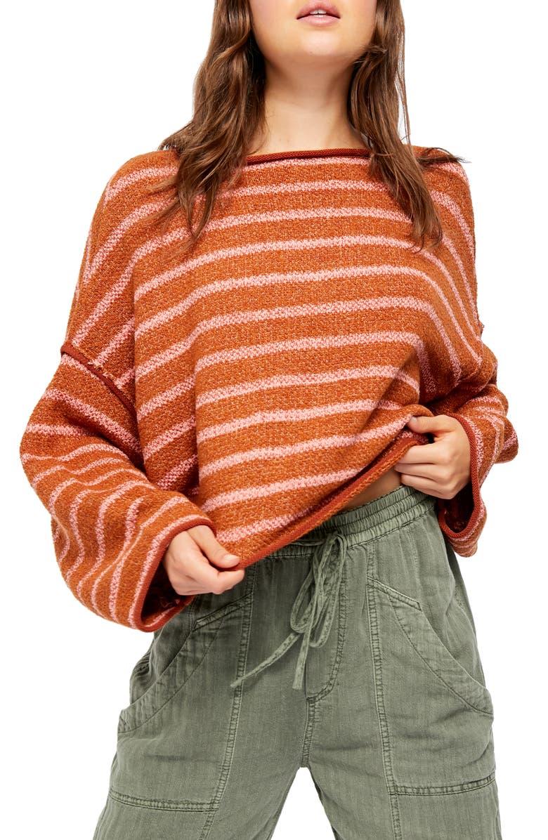 FREE PEOPLE Bardot Sweater, Main, color, BROWN COMBO