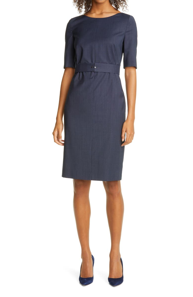 BOSS Dasteria Microcheck Belted Wool Blend Sheath Dress, Main, color, MIDNIGHT FANTASY