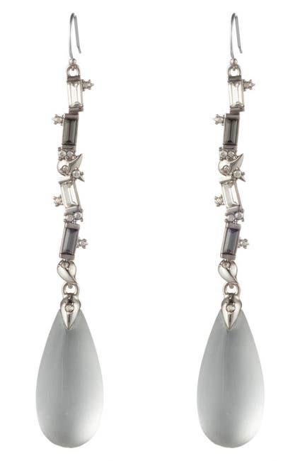 Image of Alexis Bittar Rhodium Plated Baguette Cut Crystal Lucite Drop Earrings